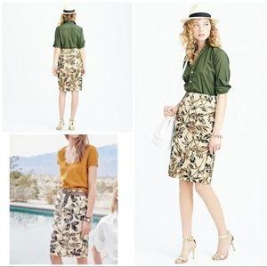 J. Crew Gold Foil Leaf Pencil Skirt, Sizes 2P, 8P
